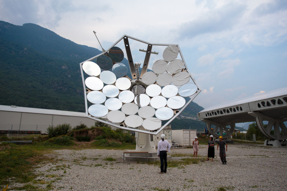Behold, the Solar Sunflower! Here they are trying a bunch of different reflector materials, which is why the segments all look slightly different. Some of the reflectors are covered up to protect them from the elements, or to stop them from frying a nearby engineer.