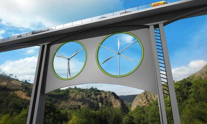 Illustration of two identical wind turbines installed in a viaduct. Credit: José Antonio Peñas (Sinc)